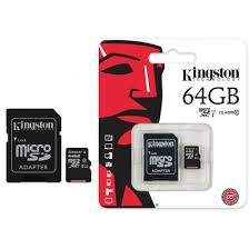 Strepito Tarjeta MicroSD Clase 10 Kingston + adaptador 64 Gb
